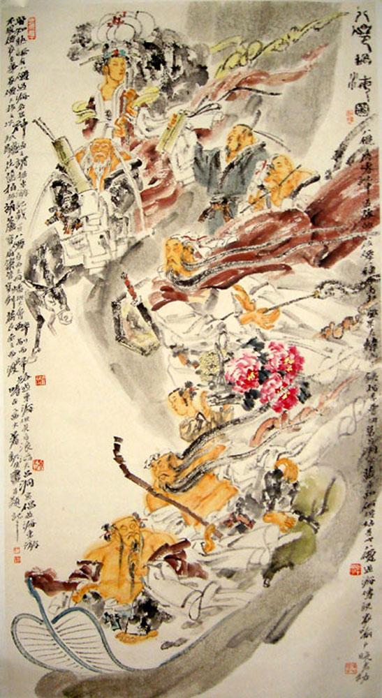 首页 >> 国画作品 >>  八仙过海  编号: 1231 规格: 178*96 价格
