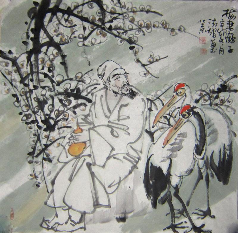 张清智作品:梅妻鹤子
